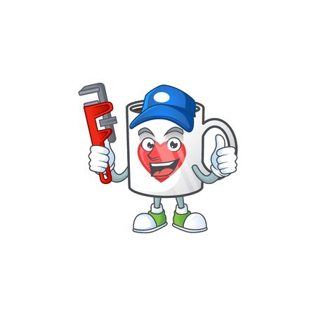 Cool Plumber cup coffee love on mascot picture style 向量圖像