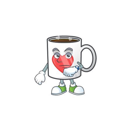cartoon character design of cup coffee love on a waiting gesture. Vector illustration