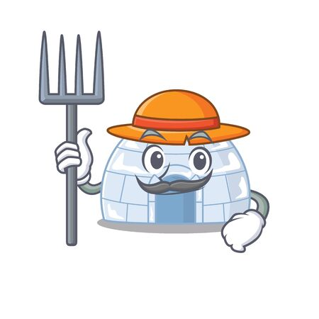 Cheerfully Farmer igloo cartoon picture with hat and tools. Vector illustration Illustration