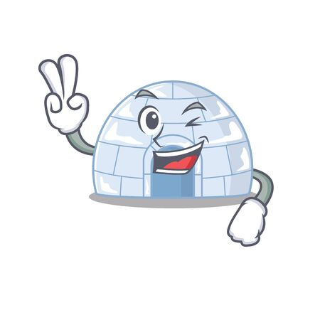 Smiley mascot of igloo cartoon Character with two fingers. Vector illustration Illustration