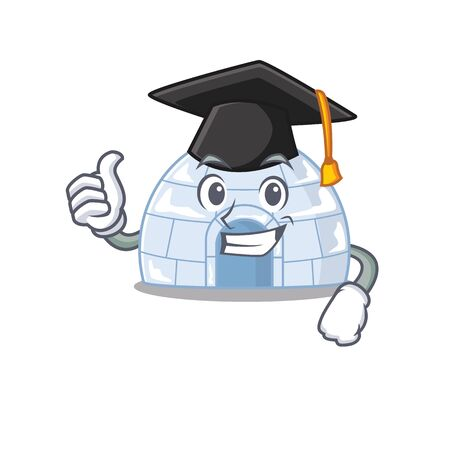 happy and proud of igloo wearing a black Graduation hat. Vector illustration
