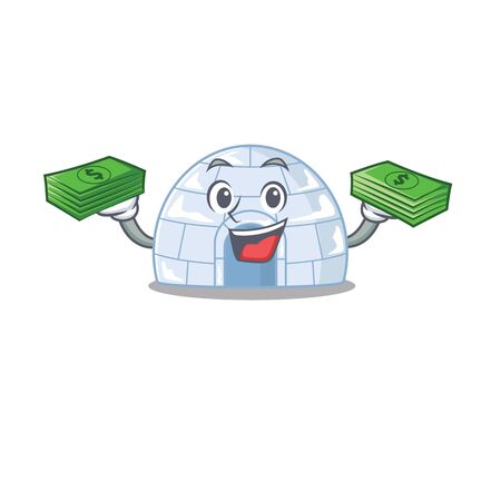 happy rich igloo character with money on hands. Vector illustration Ilustração
