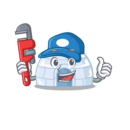 Cool Plumber igloo on mascot picture style. Vector illustration