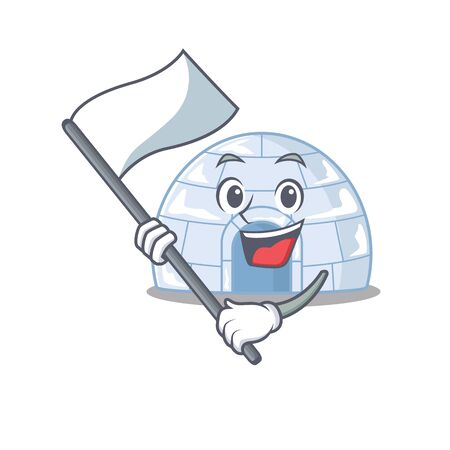 Funny igloo cartoon character style holding a standing flag. Vector illustration Illustration