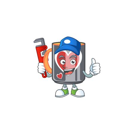 Cool Plumber mug love on mascot picture style