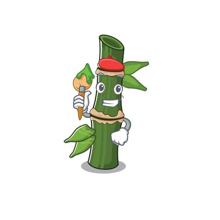 Cartoon character of bamboo Artist with a brush. Vector illustration