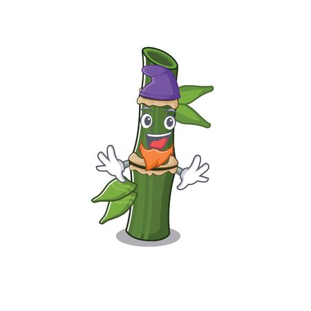 Funny bamboo cartoon mascot performed as an Elf. Vector illustration