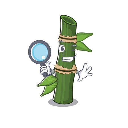 Cool and Smart bamboo Detective cartoon mascot style