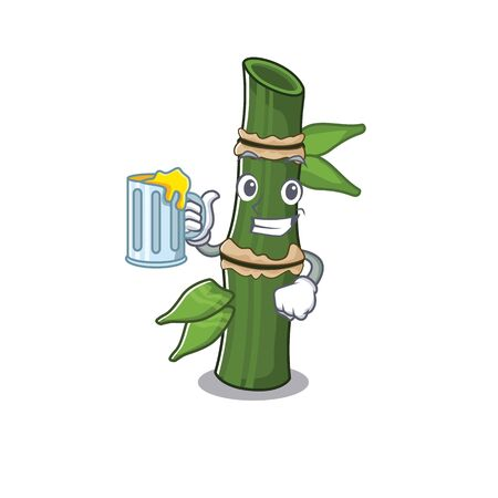 Happy bamboo mascot design with a big glass