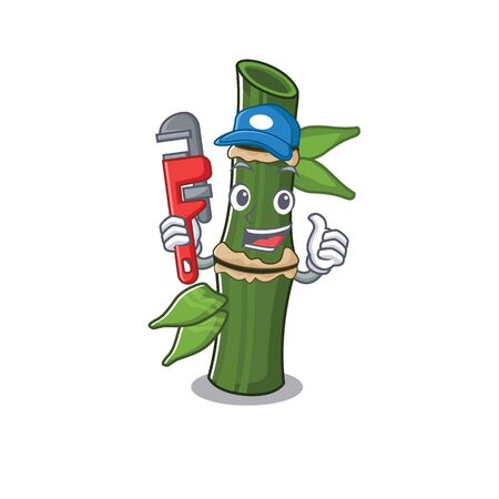 Cool Plumber bamboo on mascot picture style. Vector illustration