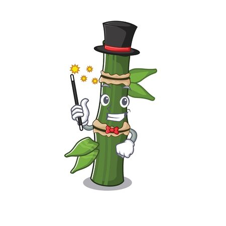 A picture of bamboo performance as a Magician. Vector illustration