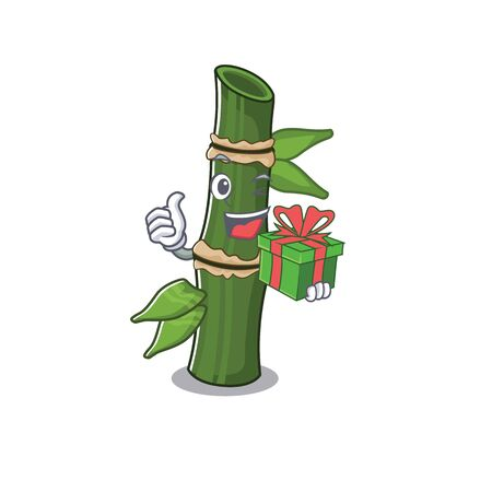 Smiley bamboo character with in gift box Illustration