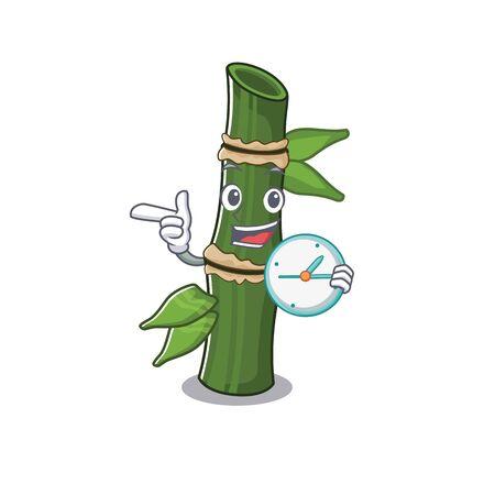 cartoon character style bamboo having in clock