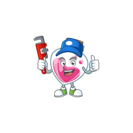 Cool Plumber pink potion on mascot picture style 向量圖像