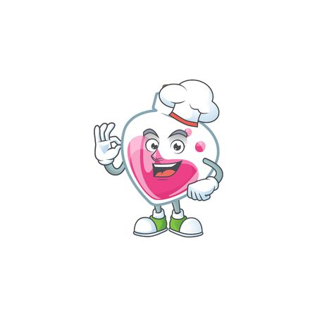 Pink potion cartoon character wearing costume of chef and white hat