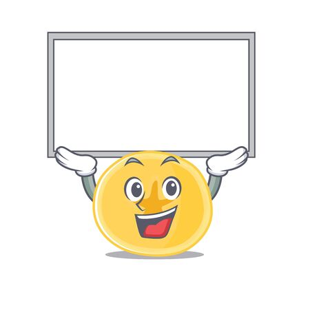 A mascot picture of banana chips raised up board. Vector illustration