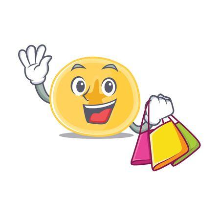 A happy rich banana chips waving and holding Shopping bag. Vector illustration