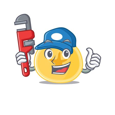 Cool Plumber banana chips on mascot picture style. Vector illustration