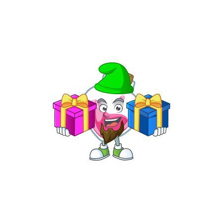 Lindo estilo de mascota de dibujos animados de poción rosa con lengua fuera