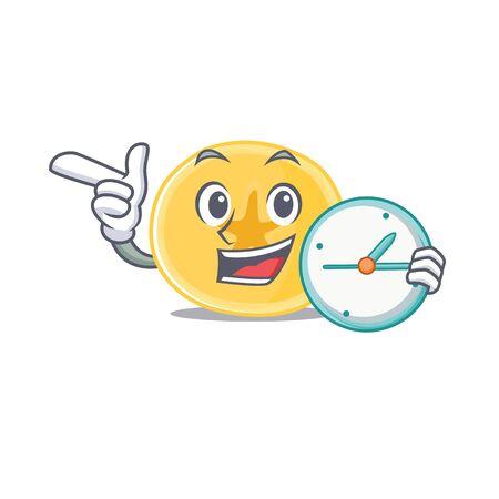 cartoon character style banana chips having clock. Vector illustration