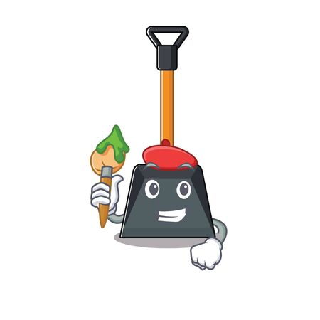 Cartoon character of snow shovel Artist with a brush. Vector illustration