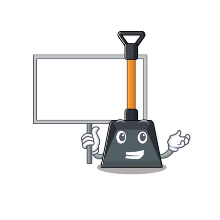 A cute picture of snow shovel cute cartoon character bring a board. Vector illustration Illustration