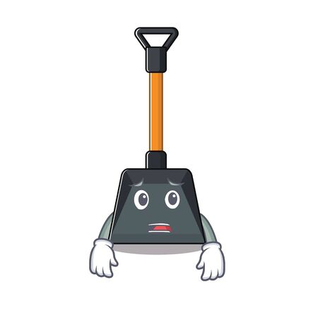 A picture of snow shovel showing afraid look face. Vector illustration