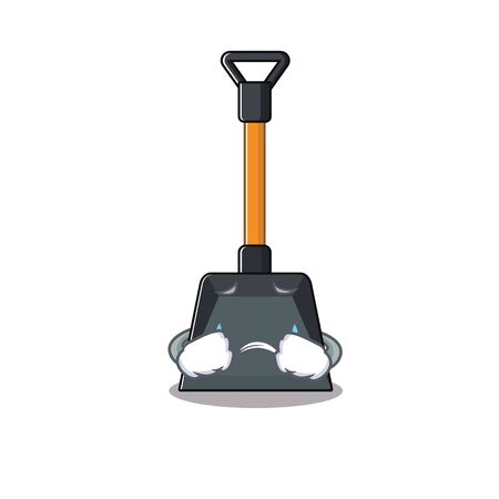 Sad of snow shovel cartoon mascot style. Vector illustration