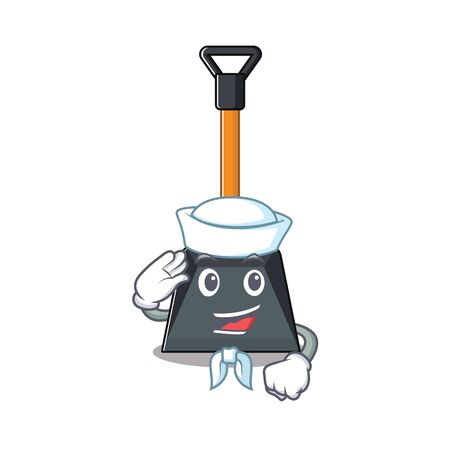 A mascot design of snow shovel Sailor wearing hat. Vector illustration Illustration
