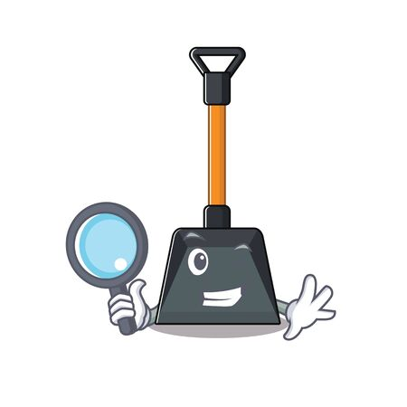 Cool and Smart snow shovel Detective cartoon mascot style. Vector illustration