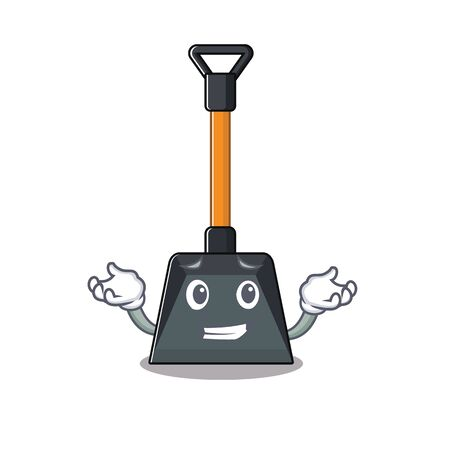 Super Funny Grinning snow shovel mascot cartoon style. Vector illustration