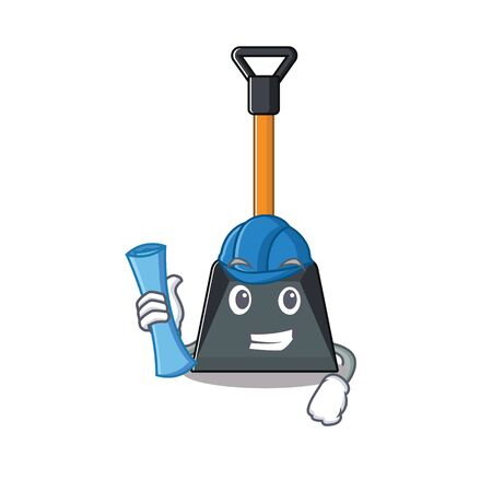 Elegant Architect snow shovel having blue prints and blue helmet. Vector illustration