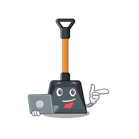 Smart character of snow shovel working with laptop. Vector illustration