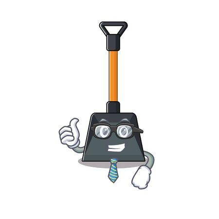cartoon character of Businessman snow shovel wearing glasses. Vector illustration Illustration