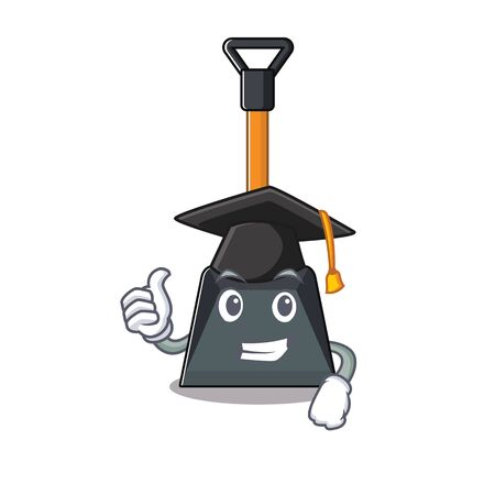happy and proud of snow shovel wearing a black Graduation hat. Vector illustration Illustration