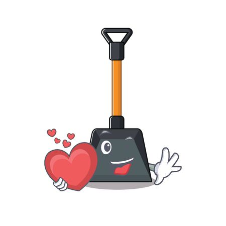Funny Face snow shovel cartoon character holding a heart. Vector illustration Illustration