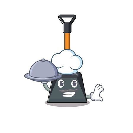 cartoon design of snow shovel as a Chef having food on tray. Vector illustration Illustration
