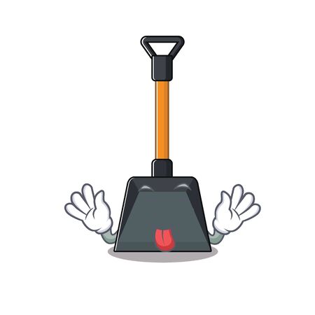 Cute snow shovel cartoon mascot style with Tongue out. Vector illustration