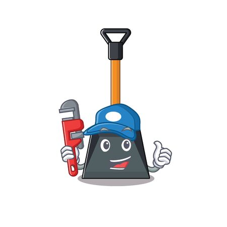 Cool Plumber snow shovel on mascot picture style. Vector illustration