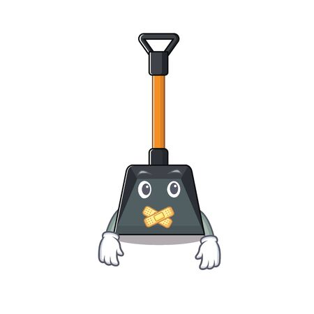 a silent gesture of snow shovel mascot cartoon character design. Vector illustration Illustration