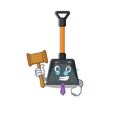 Smart Judge snow shovel in mascot cartoon character style. Vector illustration Illustration