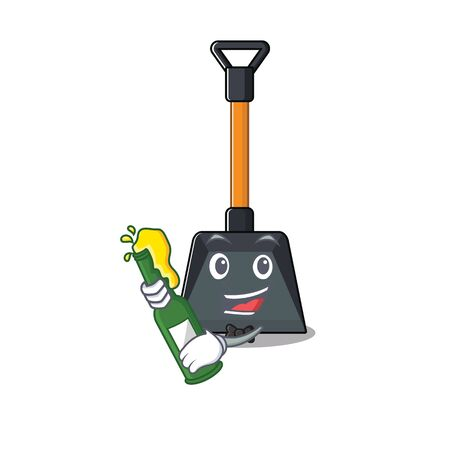 mascot cartoon design of snow shovel with bottle of beer. Vector illustration Illustration