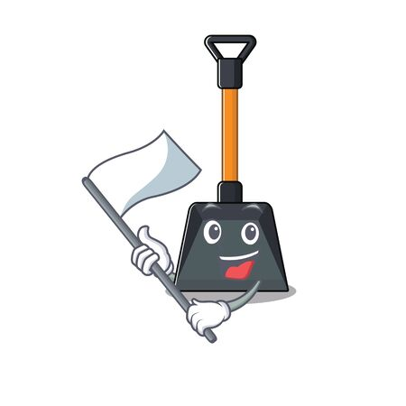Funny snow shovel cartoon character style holding a standing flag. Vector illustration