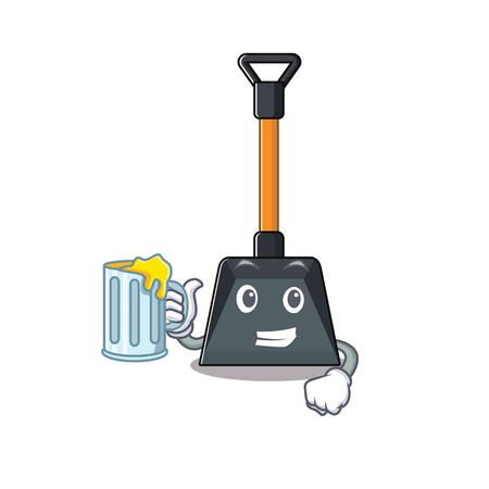 Happy snow shovel mascot design with a big glass. Vector illustration Illustration