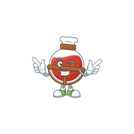 Funny face red potion cartoon character style with Wink eye