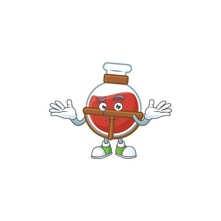 Super Funny Grinning red potion mascot cartoon style. Vector illustration