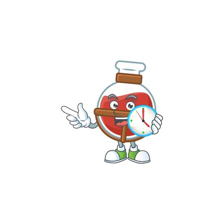 cartoon character style red potion having clock. Vector illustration Vettoriali