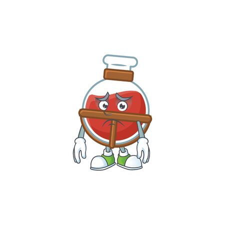 A picture of red potion showing afraid look face