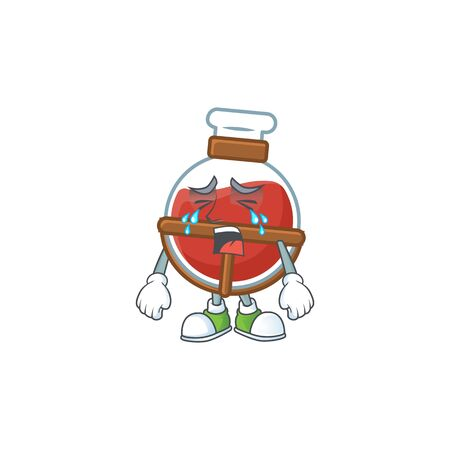 Sad of red potion cartoon mascot style. Vector illustration 向量圖像