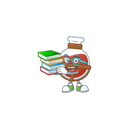 Cool and clever Student red potion mascot cartoon with book